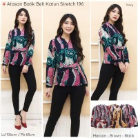 Blouse batik kerja wanita motif parang|Zeeshop id - navy