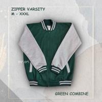 Jaket Pria Baseball Varsity Sweater Polos HIJAU-ABU M-XXXL Best Seller