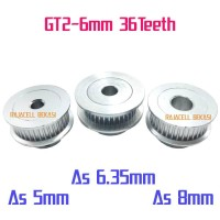 Timming Pulley Puli GT2 GT2-6mm 36teeth 36 gigi Bore As 5mm 8mm 6.35mm