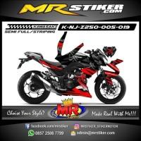 Stiker motor decal Kawasaki Ninja Z 250 Red Black Strip Grafis