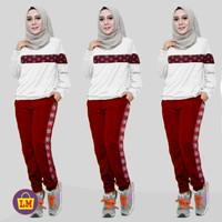 LM 13154 Baju Setelan Olahraga Senam Training Wanita Motif CHL COMBI