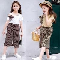 setelan baju anak perempuan import gaya korea + celana size 2-7 th