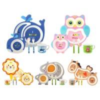 Bamboo Fiber Kids Feeding Set / Peralatan Makan Bayi-anak anak
