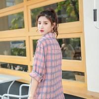 kemeja atasan kotak kotak hem shirt wanita korea casual blouse blus