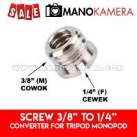 Screw Converter Adaptor 3/8 to 1/4 Tripod Monopod Ball Head Camera