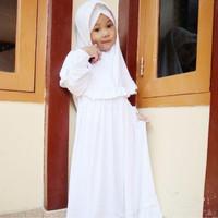 Baju Muslim anak warna putih/Gamis anak Perempuan untuk Manasik