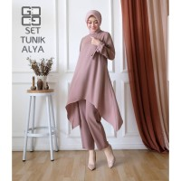Baju Setelan Syari Wanita Muslim Terbaru Set Tunik Alya Termurah