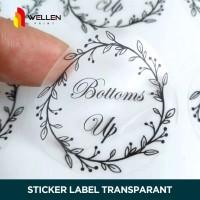 Cetak Sticker Label Kemasan Makanan Bakery Botol Undangan Transparant