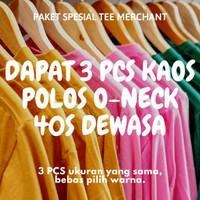 [Dapat 3 Pcs] Kaos Polos Cotton Combed 40S Dewasa Paket Bundling - 3 PCS SIZE S