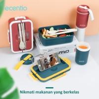 ecentio Set kotak makan siang portabel jerami gandum 1000ml