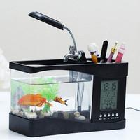 Akuarium Mini USB Portable Aquarium Ikan Fish Tank