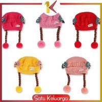 SK-P19-21 Topi Anak Perempuan Rambut Kepang / Topi Bayi Kupluk Rajut