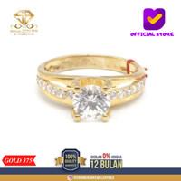 SBJ - cincin emas kuning wanita perhiasan emas asli 375 CMM255 R14