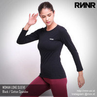 Baju Olahraga Wanita Gym Senam Lari Lengan Panjang Katun Spandex - Hitam, M