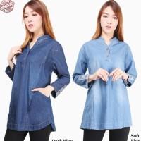 Atasan Blouse Jeans Hesty Jumbo Wanita - Biru Muda murah