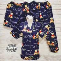 happystore baju tidur piyama 3 IN 1 KARAKTER - LOVELY BEAR