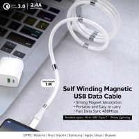 Kabel Data Magnetic Micro USB iPhone Lightning Type C QC 3.0 - 2.4A