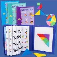 Puzzle tangram wooden blocks, Magnetic tangram puzzle kayu bentuk