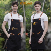 apron black denim for barista crossback strep synthetic leather