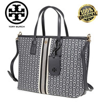 TB TORY BURCH GEMINI LINK CANVAS SMALL TOP-ZIP TOTE 100% AUTHENTIC!