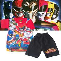 Baju setelan anak laki laki atasan dan celana murah motif POWER RANGER