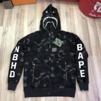 Bape x NBHD Black Shark Full Zip Hoodie Best NxN Quality