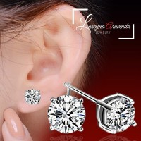 Anting Wanita Silver S925 Model Classic Diamond Crystal AT021