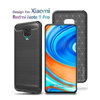 Premium Carbon Case Xiaomi Redmi Note 9 Pro Black - Soft Case Glass Pr