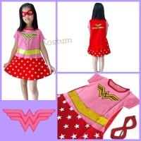 Kostum Superhero Anak Wonder Woman Pink Merah Dress Baju Perempuan
