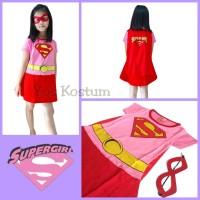 Kostum Superhero Anak Super Girl Pink Merah Dress Baju Perempuan