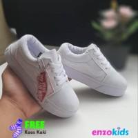 Sepatu Vans Anak Oldskool Full White Putih Polos Tali
