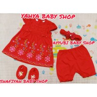 Dress bayi/Dress anak bayi perempuan baju bayi cewek newborn red