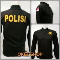 Baju Kaos Polo Shirt POLISI Hitam Lengan Panjang