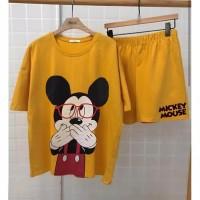 2 in 1 Setelan Baju Tidur Mickey Mouse Shy Setelan Wanita Kaos Mickey