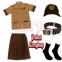 Set Seragam Pramuka Siaga SD Baju Pendek Rok Pendek
