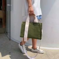 Tas Selempang Jinjing Wanita Kanvas Polos Hand Bag Cewek MARLYN