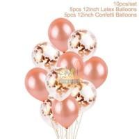SET Balon Karet Latex Confetti ROSE GOLD 12 inch