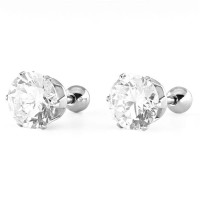 Anting Pria Wanita Diamond Stud Earrings Titanium Steel Anti Karat