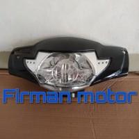 cover batok kepala depan dan reflektor lampu supra x 125 2006 hitam