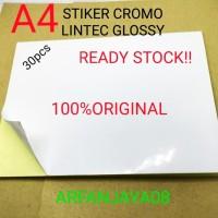 Bahan STIKER HVS/CROMO LINTEC POLOS GLOSSY A4. 30Pcs