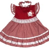 Baju Dress Bayi Perempuan Katun 6-12 Bulan Motif Kotak Renda Kembang
