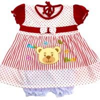 Baju Setelan Dress Bayi Perempuan Katun 3-6 Bulan Motif Cute Bear