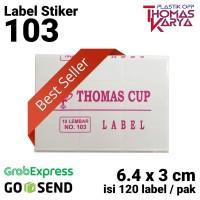 Label 103 THOMAS CUP (120 label/pack) 3 x 6,4 cm Sticker Undangan
