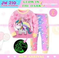 Baju Tidur Anak Unicorn Glow In The Dark Piyama JW 210 E