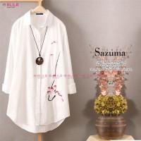 baju atasan wanita tunik kemeja putih bahan katun real pict-sazuma