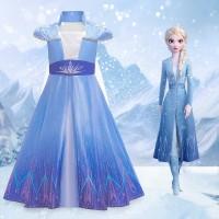 Baju Dress Anak Cosplay Kostum Frozen 2 Princess Elsa 4T-9T Impor H010