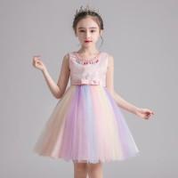 Baju Dress Pesta Ulang Tahun Anak Princess Pink Tutu Colorful 4T-8T