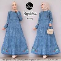 gamis jeans muslim terbaru baju wanita dress jeans muslim-syakira maxi