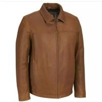 jaket kulit pria asli warna coklat tua model kerah formal