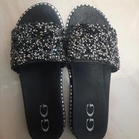 [PREMIUM] SANDAL WANITA SELOP Mote Sandal Selop Glitter Bling Bling - Hitam, 36